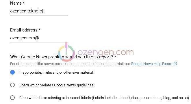 Google haberler sikayet