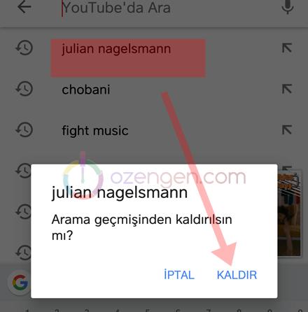 Youtube arama gecmisinden kaldir