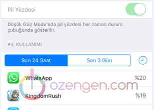 iPhone pil kullanim