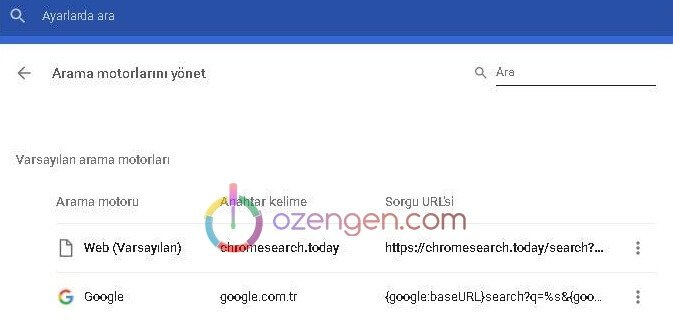 Chromesearch.today virüsü silme