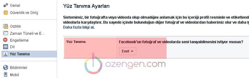 Facebook yuz tanima