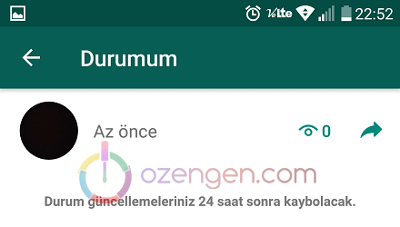 Whatsapp durum silme