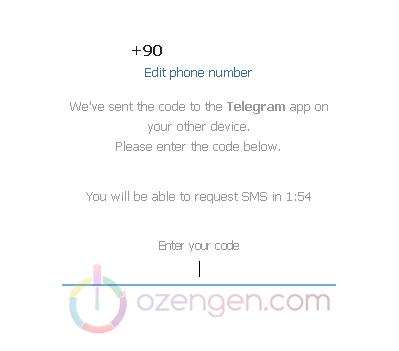 telegram onay sms - Ozengen